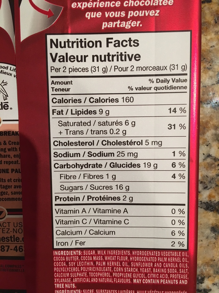 Kit Kat Cookies and Cream Nutritional Facts